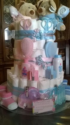 Twins Boy / Girl 3 Tier Teddy Bear Diaper Cake Baby Shower
