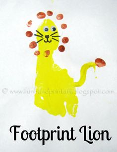Footprint Lion craft for kids