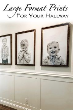 Transform your child's photos to larger than life prints, creating an eye-popping wall. Adding wainscot and clean, simple paint makes this look elegant and welcoming. Hallway Pictures, Family Pictures On Wall, Hanging Pictures, Collage Pictures On Wall, Large Wall Pictures, Display Family Photos, Hallway Walls, Dining Room Walls, Hallways