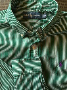 Men Ralph Lauren Green White Striped Medium Shirt  Polo #PoloRalphLauren #ButtonFront