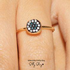 White & Blue Evil Eye Diamond 18K Gold Ring by SillyShiny on Etsy,