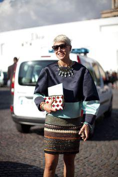 STREET STYLE SPRING 2013: PARIS FASHION WEEK - Elisa Nalin is multi-hued and multi-striped.