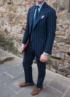 Navy Linen Pinstripe Suit by Beckett & Robb www.beckettrobb.com