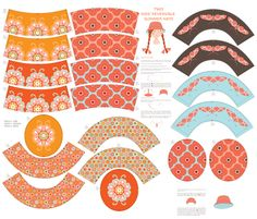 Two Kids' Reversible Summer Hats fabric by kayajoy on Spoonflower - custom fabric