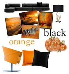 """Orange and black"" by andrea-fashion ❤ liked on Polyvore featuring interior, interiors, interior design, home, home decor, interior decorating, ArtWall, Napier, Matouk and Betsey Johnson"