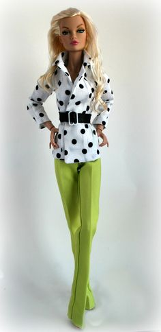 Barbie Dolls : Polka Dotted Jacket Lime Green Pants for 16 inch Fashion Doll by Sweet Sixteen Fashion Dolls, Girl Fashion, Fashion Outfits, White Fashion, Doll Clothes Patterns, Clothing Patterns, Barbie Patterns, Barbie Clothes, Barbie Dolls