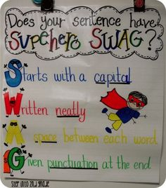 "Just as a reminder.Let's hope ""swag"" isn't still around by the time my kids start school. but just in case, i'll pin this lol - aa [Step into Grade with Mrs. Lemons: Superhero SWAG Anchor Chart - Does your sentence have? Kindergarten Writing, Teaching Writing, Writing Activities, Teaching Tips, Kindergarten Handwriting, Writing Help, Superhero Classroom Theme, Classroom Posters, Classroom Themes"