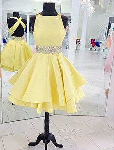 A Line Prom Dress,Yellow Homecoming Dress,Beading Party Dress,Backless Prom Dress,Knee Length Prom Dress,
