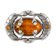 Sterling Silver and Amber Brooch, Georg Jensen   Signed Georg Jensen, Denmark, no. 169, c. 1945, ap. 13.6 dwt.
