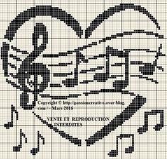 Grille gratuite point de croix : La musique en coeur 2