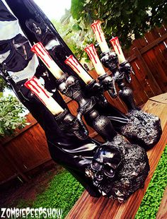 Vinyl Transylvania Knee High Candelabra Skull Boots by kaylastojek, $375.00