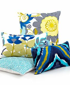 """Trina Turk Trellis Turquoise Flower Garden 20"""" Square Decorative Pillow - Bedding Collections - Bed & Bath - Macy's, $60"""