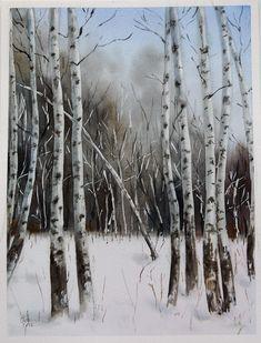 Watercolor landscape - Siberian winter