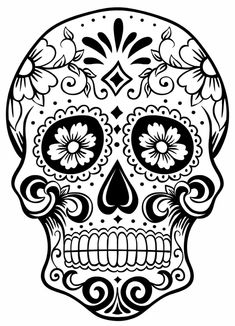 tatuaggio teschio messicano, un'immagine in bianco e nero da personalizzare a piacere