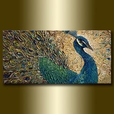 Hey, I found this really awesome Etsy listing at https://www.etsy.com/listing/211067198/peacock-modern-animal-oil-painting