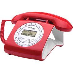 Telefone c/identificador de chamadas vermelho TC8312 Intelbras - Telefonia - Kalunga.com