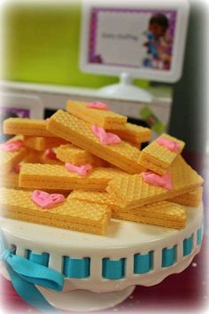 Wafer bandage cookies at a Doc McStuffins birthday party!  See more party planning ideas at CatchMyParty.com!