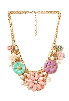 Oversized Floral Charm Necklace | FOREVER21 - 1000069790, flowers, floral necklace, accesories, beautiful, love it, forever 21, jewerly