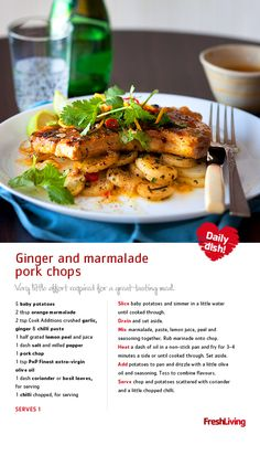 CHOP CHOP: Get creative in the kitchen with ginger and marmalade pork chops. They're filled with flavour and sooo easy to make.  #dailydish #picknpay #freshliving #porkchops