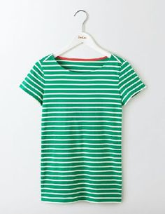 #Boden Short Sleeve Breton Meadow Green/Ivory Women #You asked and we listened. This bestselling Breton not only shares the same colours as its long sleeve sibling but its also got the new longer length fit that youve been asking for. Team it with jeans and a cropped cardi for a relaxed look.
