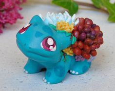 Handmade Succulent Bulbasaur Figurine | Miniature Polymer Clay Sculpture | Pokemon Universe
