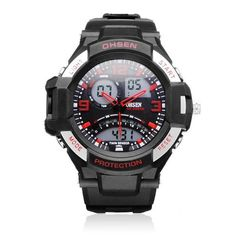 OHSEN AD2805 Sport Black Mlilitary Date Week Men Wrist Quartz Watch #OHSEN #FashionCasualSport