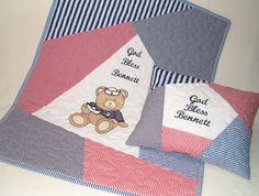 Navy Baby Quilt Sailor Teddy Bear Child by Customquiltsbyeva