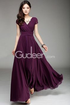 Grape long chiffon bridesmaid dress features short sleeves along with v neckline, pleated bodice with  wide ribbon attached, long chiffon skirt flows beautifully.