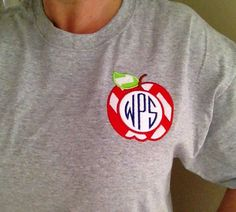 Great teacher gift embroidered tshirt with Apple monogram made to order choose your size and color thread and T-shirt on Etsy, $15.00