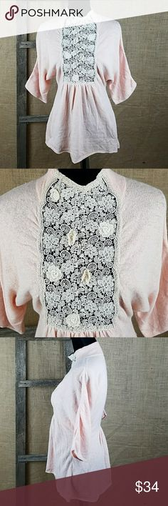 Moth Anthropologie women's XS Victorian style wool Moth Anthropologie women's XS Victorian style 40% wool, 30% rayon, 20% angora, 10% cashmere sweater, lace design in front, batwings. Anthropologie Tops