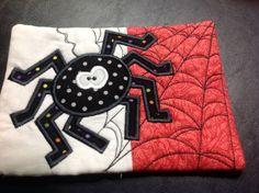 Appliqued and Quilted Spider Mug Rug by KrasoskisKrafts on Etsy