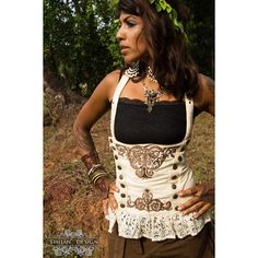 Mistress Steampunk Corset Pirate Cabaret Steam Punk Burlesque... ($108) ❤ liked on Polyvore featuring tops, corsets, dark olive, lingerie, women's clothing, brown tops, victorian lace top, pirate corset top, brown lace top and brown corset
