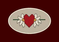 Two Flowers One Heart cross stitch pattern Butterfly Cross Stitch, Cross Stitch Heart, Cross Stitch Flowers, Cross Stitch Patterns, Christmas Tree Pattern, Cross Stitch Bookmarks, Square Patterns, Love Symbols, Small Flowers