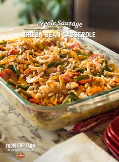 """Creole Sausage and Green Bean Casserole - Food Blogger Robyn Stone introduces us to a New Orleans inspired Green Bean Casserole. With Andouille sausage, Creole seasoning and sharp cheddar cheese, this dish gives a spicy kick to a holiday favorite. Even better – with only one pot to cook in and one to clean, this recipe could be your new """"go to"""" weeknight dish."""