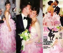 Jessica Biel blush wedding ddress