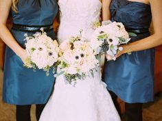 Winter Blue Bridesmaids Dresses