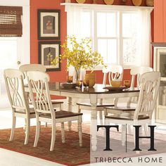TRIBECCA HOME Mackenzie 7-piece Country Antique White Dining Set - overstock 1319.00, not counter height
