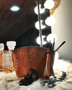 Ya Mama needs a tooled leather makeup bag...and maybe the whiskey Snag it for her in bio (also available in Pink or Purple)