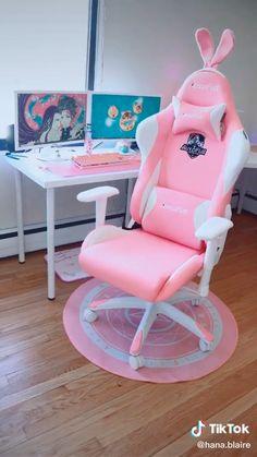 Gaming Desk Setup, Gaming Chair, Room Ideas Bedroom, Bedroom Decor, My Room, Girl Room, Kawaii Bedroom, Game Room Design, Bedroom Ideas