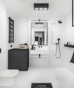 G3Mstudio. B&W bathroom. Wielicka Garden Apartment in Krakow