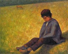 On a Meadow Sitting Boy by George Seurat