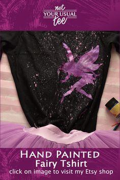 This handpainted tshirt features a pink - purple fairy with silvery accents, on a soft goth, pastel Purple Pixie, Pink Purple, H&m Brand, Fairy Silhouette, Cotton Anniversary Gifts, Personalized Gifts For Her, Pastel Grunge, Tshirt Colors, Types Of Shirts