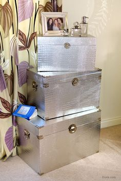 Moc Croc Silver Trunks - Set of 3: For sale at www.DUSX.com DusX - French Mirrors, Chandeliers, Furniture