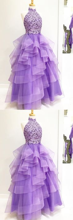 e848a6c6b Charming A-Line High Neck Light Purple Tulle Long Prom Evening Dress With  Beading And Appliques. Ropa TenisRopa LindaVestidos De FiestaVestidos ...