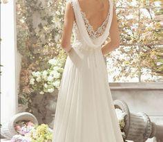 2015 Elegant A Line Beaded Open Back V neck White Lace Wedding Dress 1910 Long weding dress