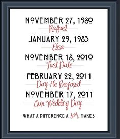 Items similar to What a difference a day makes - Family Wall Art - Special Dates - Wedding Art -PDF, Print or Canvas Gallery Wrap on Etsy Craft Gifts, Diy Gifts, Valentine Day Gifts, Valentines, Dream Wedding, Wedding Day, Family Wall Art, Subway Art, Lovey Dovey
