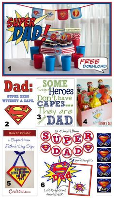 He's super dad! Celebrate Father's Day with these super printables. Dad Crafts, Fathers Day Crafts, Fathers Gifts, Fathers Day Lunch, Happy Fathers Day, Ideas Desayunos, Party Ideas, Gift Ideas, Party Themes