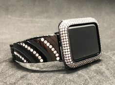 Apple Watch Band 38mm 42mm Womens Mens Black Rhinestone Crystal Series 1 2 3 /Lab Diamond Iced Out Bezel Case Cover Iwatch Bling Smart Watch by Iwatchcandy on Etsy