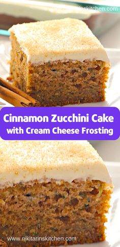 Cinnamon Zucchini Cake with Cream Cheese Frosting ( Desserts, Cakes ) – Blechkuchen rezepte Food Cakes, Cupcake Cakes, Cupcakes, Just Desserts, Delicious Desserts, Fancy Desserts, Cheesecake Recipes, Dessert Recipes, Zuchinni Recipes