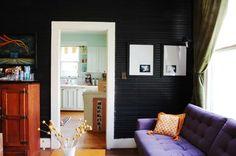 Black wood panel walls